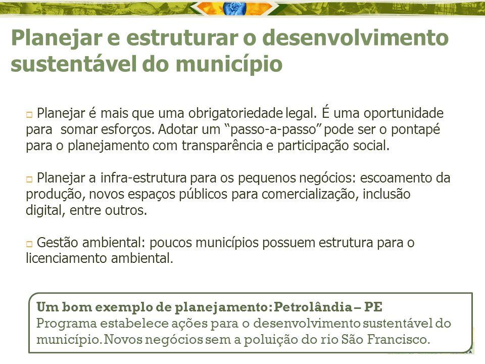 Planejar e estruturar o desenvolvimento sustentável do município