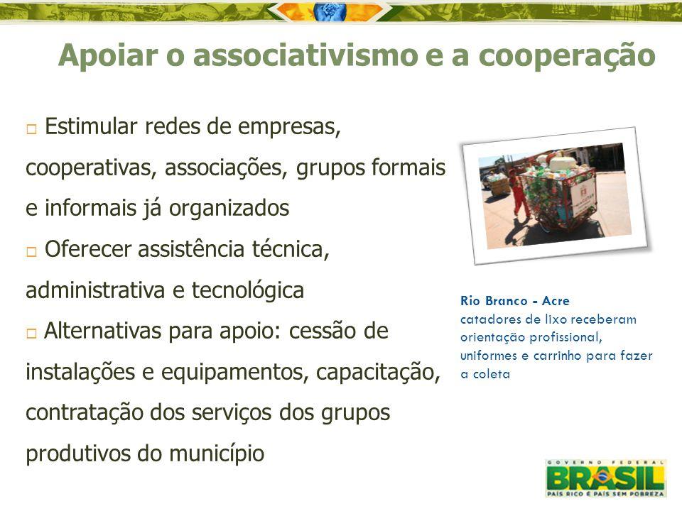 Apoiar o associativismo e a cooperação