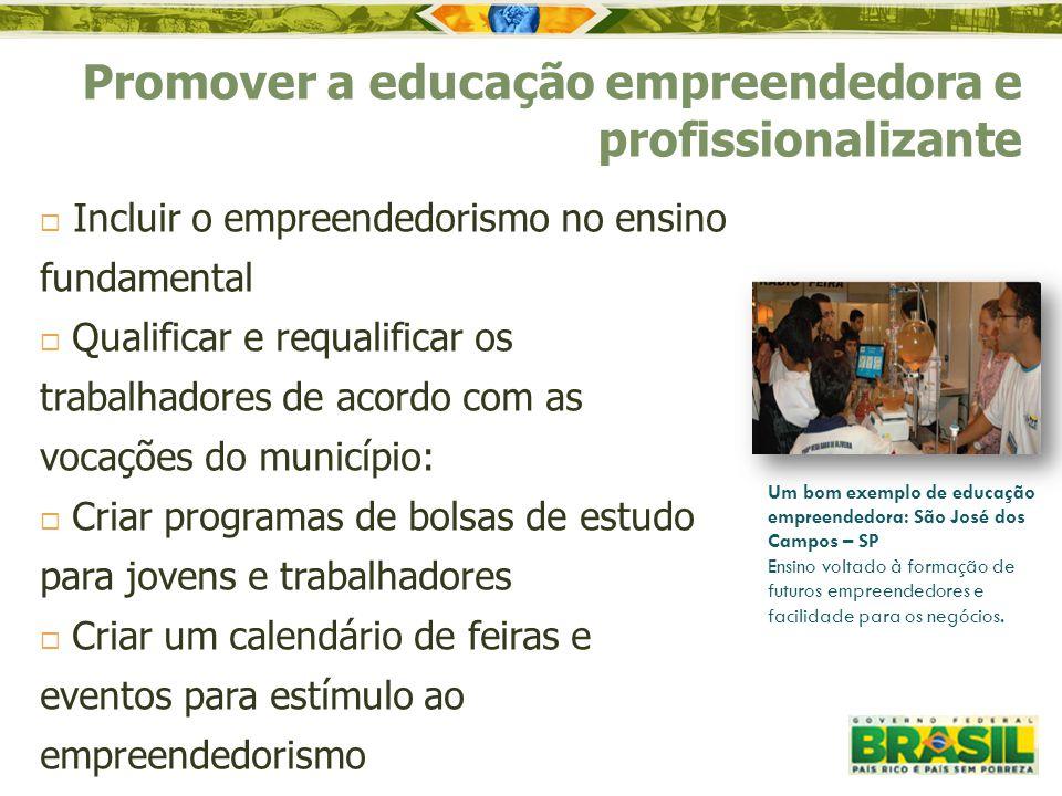 Promover a educação empreendedora e profissionalizante