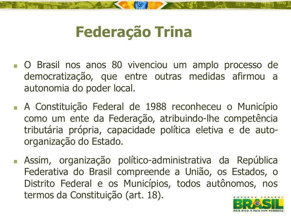 Federação Trina O Brasil nos anos 80 vivenciou um amplo processo de democratização, que entre outras medidas afirmou a autonomia do poder local.