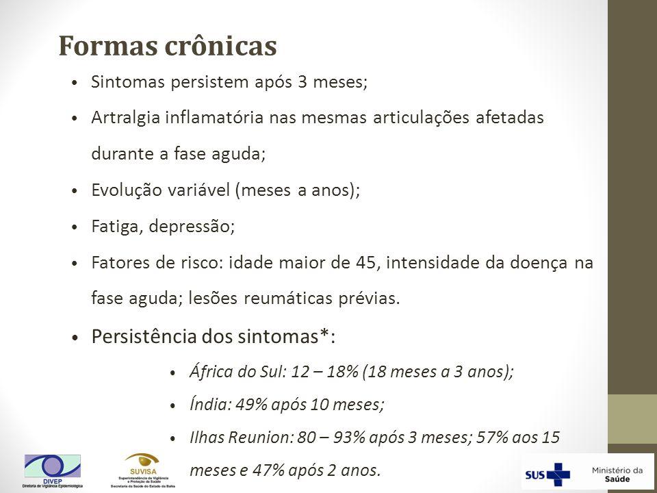 Formas crônicas Persistência dos sintomas*:
