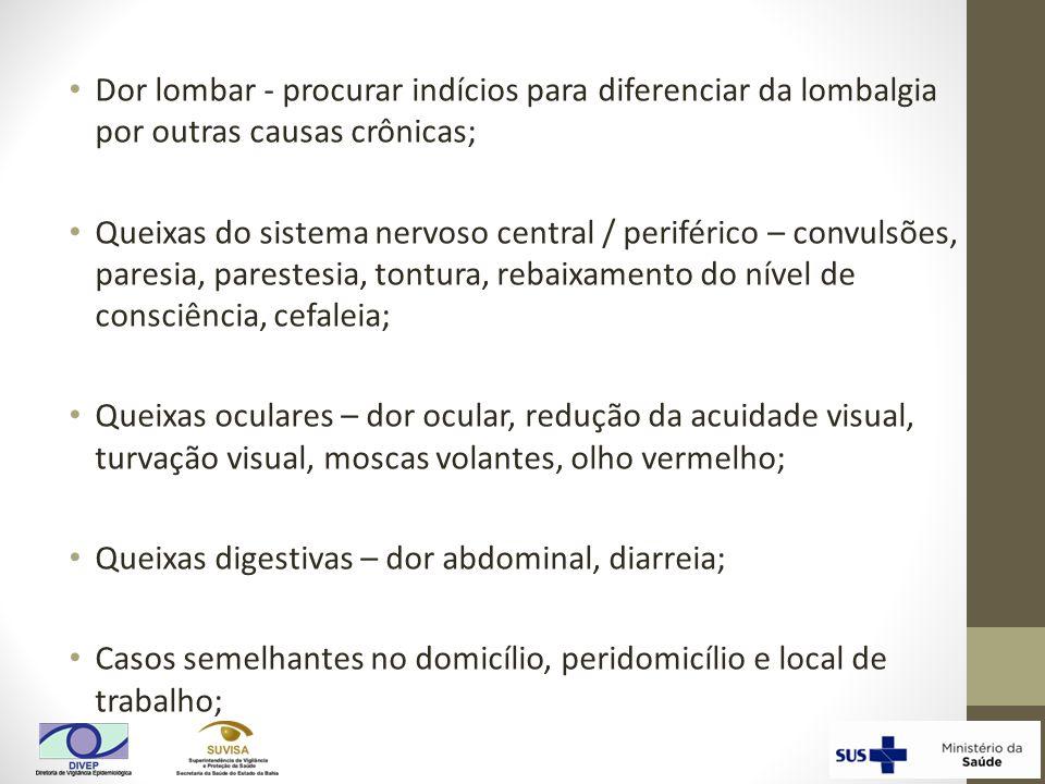 Dor lombar - procurar indícios para diferenciar da lombalgia por outras causas crônicas;