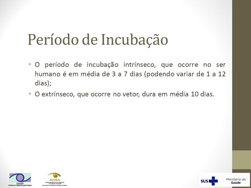 Período de Incubação O período de incubação intrínseco, que ocorre no ser humano é em média de 3 a 7 dias (podendo variar de 1 a 12 dias);