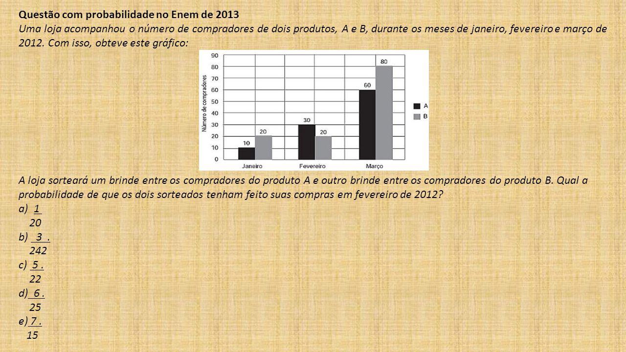 Questão com probabilidade no Enem de 2013