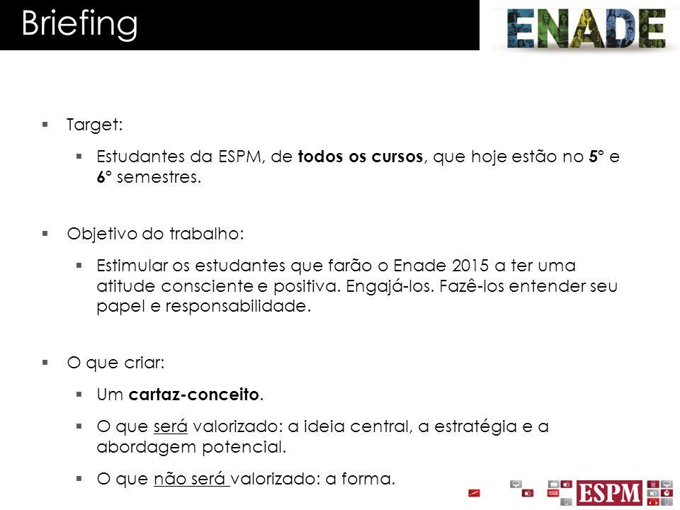 Briefing Target: Estudantes da ESPM, de todos os cursos, que hoje estão no 5º e 6º semestres. Objetivo do trabalho: