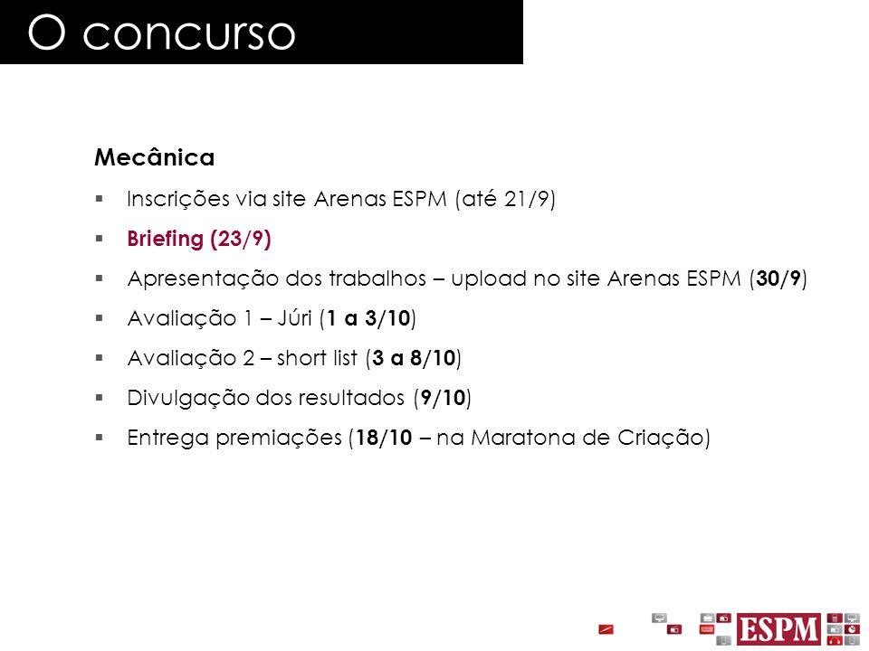 O concurso Mecânica Inscrições via site Arenas ESPM (até 21/9)