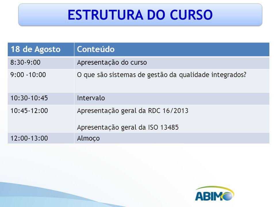 ESTRUTURA DO CURSO 18 de Agosto Conteúdo 8:30-9:00