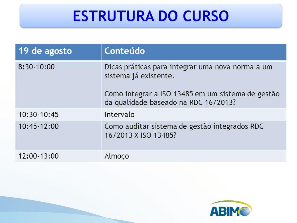 ESTRUTURA DO CURSO 19 de agosto Conteúdo 8:30-10:00