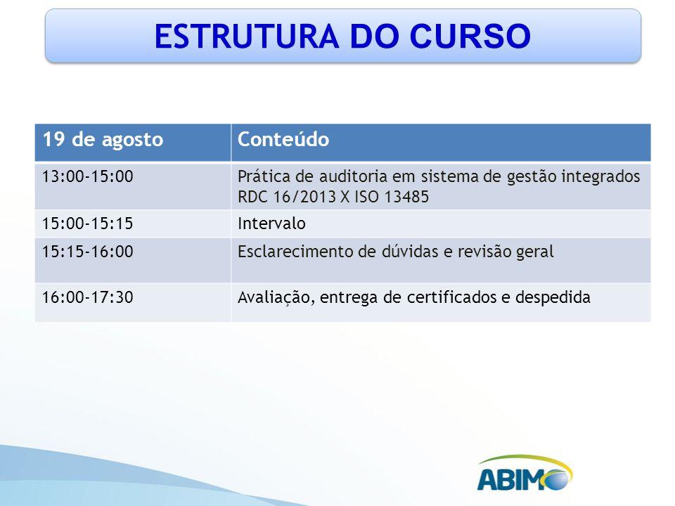 ESTRUTURA DO CURSO 19 de agosto Conteúdo 13:00-15:00