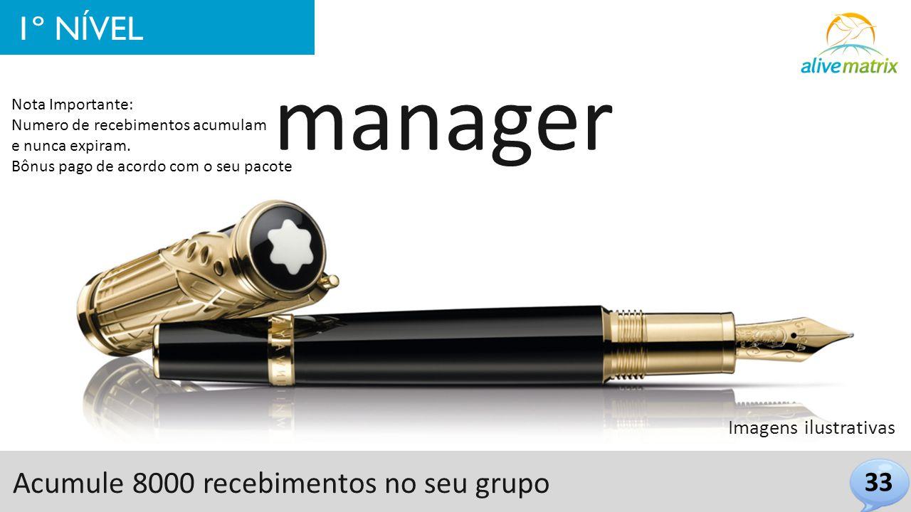 manager 1º NÍVEL Acumule 8000 recebimentos no seu grupo 33