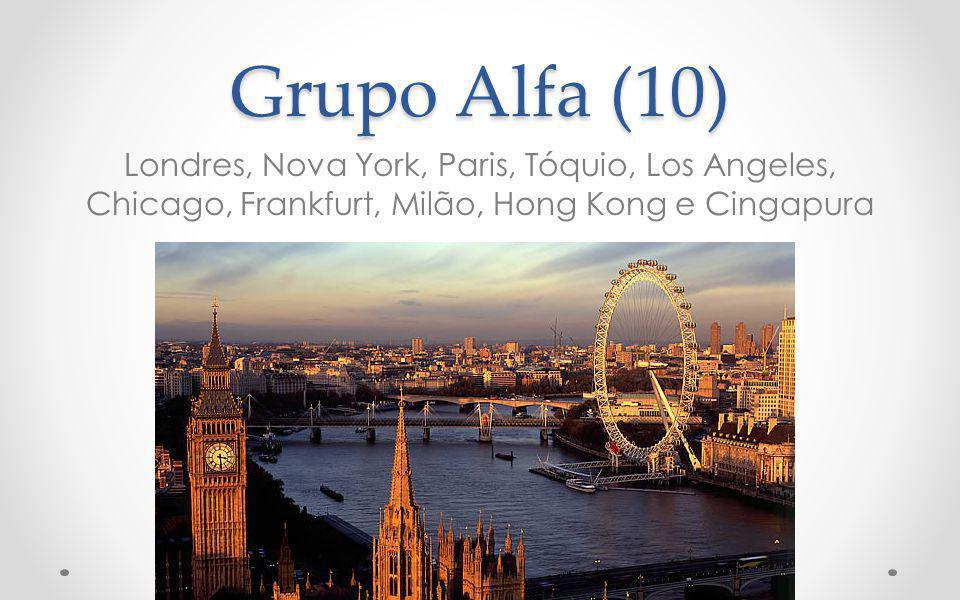Grupo Alfa (10) Londres, Nova York, Paris, Tóquio, Los Angeles, Chicago, Frankfurt, Milão, Hong Kong e Cingapura.
