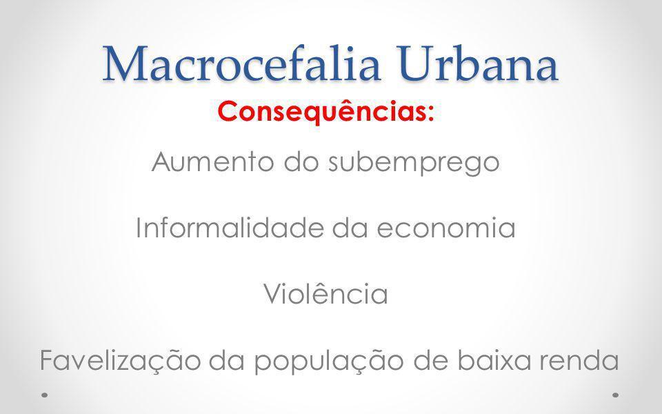 Macrocefalia Urbana Consequências: Aumento do subemprego Informalidade da economia Violência Favelização da população de baixa renda