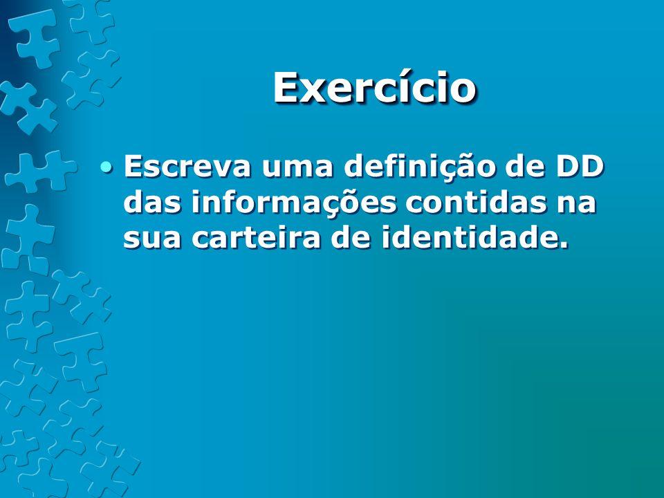 Exercício Escreva uma definição de DD das informações contidas na sua carteira de identidade.
