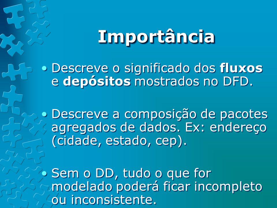 Importância Descreve o significado dos fluxos e depósitos mostrados no DFD.