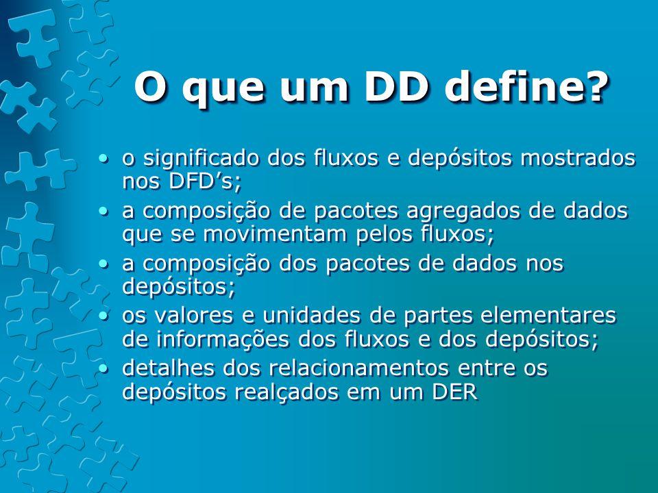 O que um DD define o significado dos fluxos e depósitos mostrados nos DFD's;