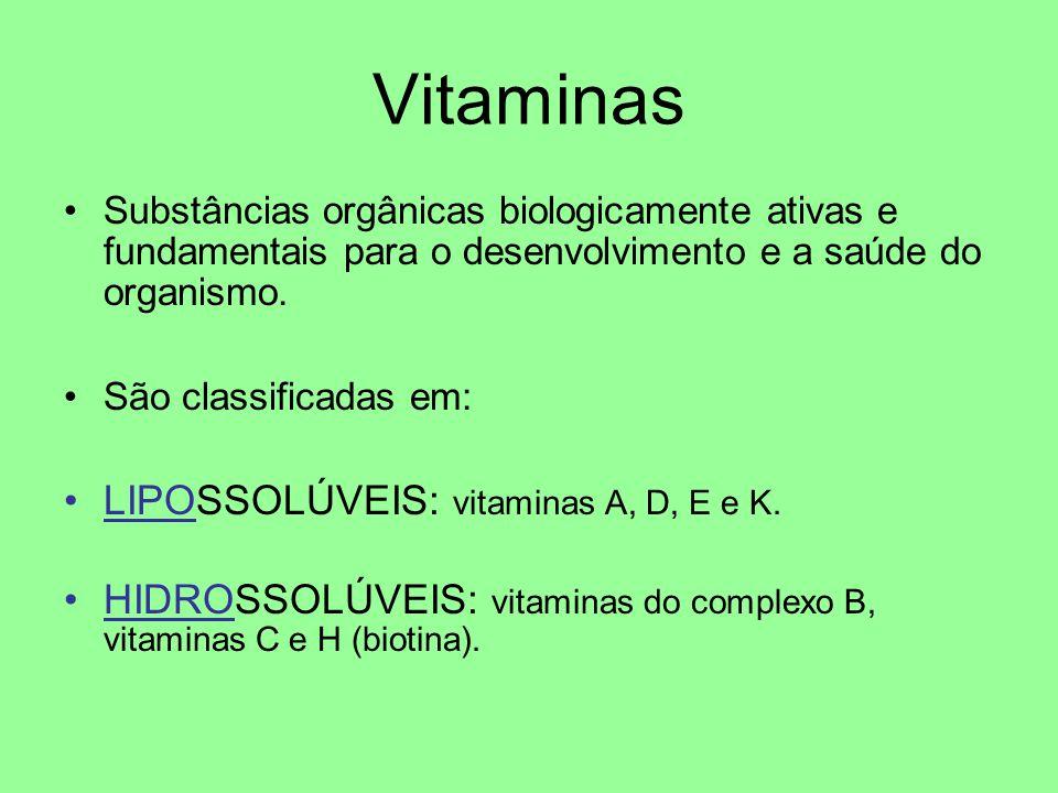 Vitaminas LIPOSSOLÚVEIS: vitaminas A, D, E e K.