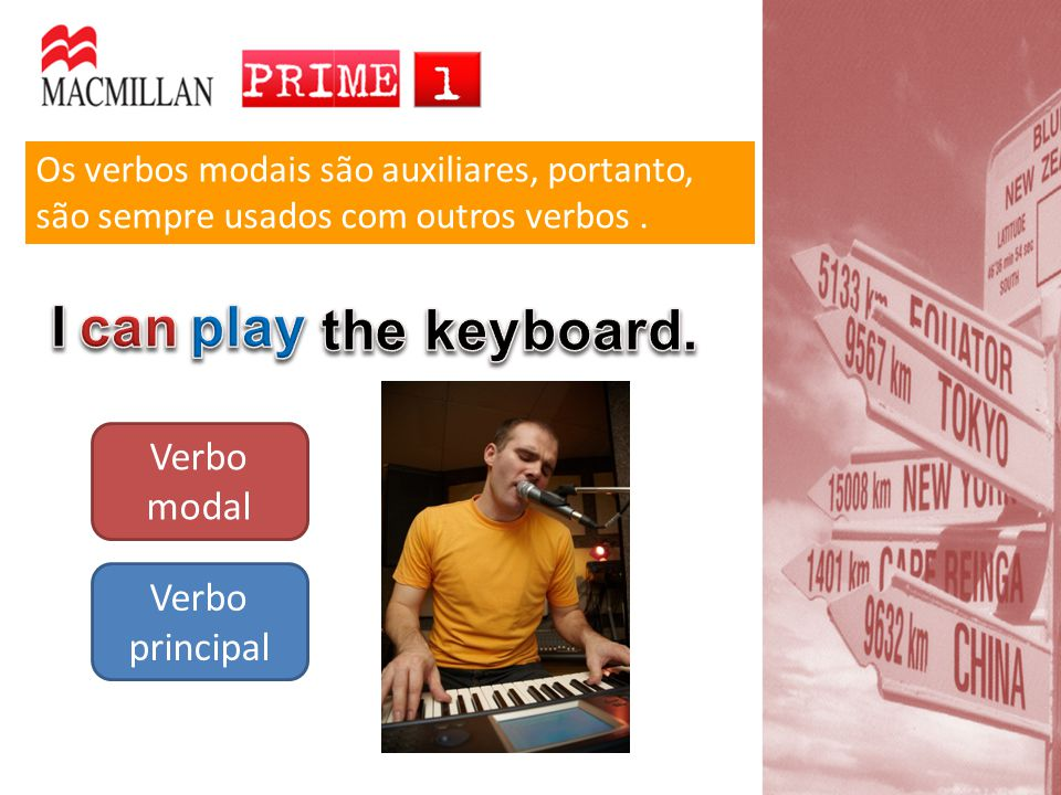 I can play the keyboard. Verbo modal Verbo principal