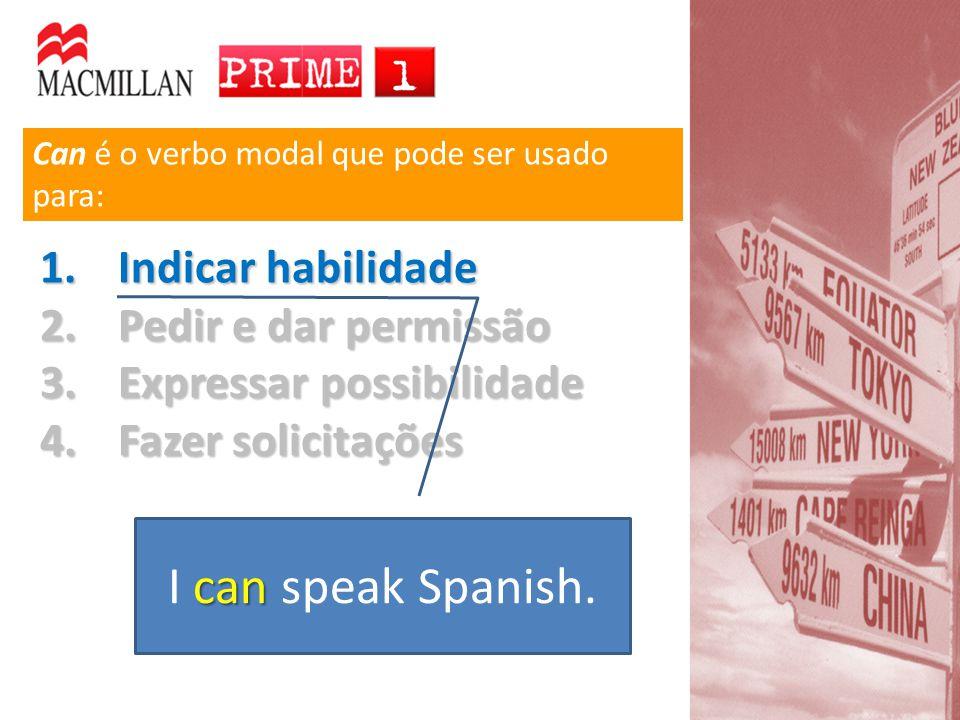 I can speak Spanish. Indicar habilidade Pedir e dar permissão