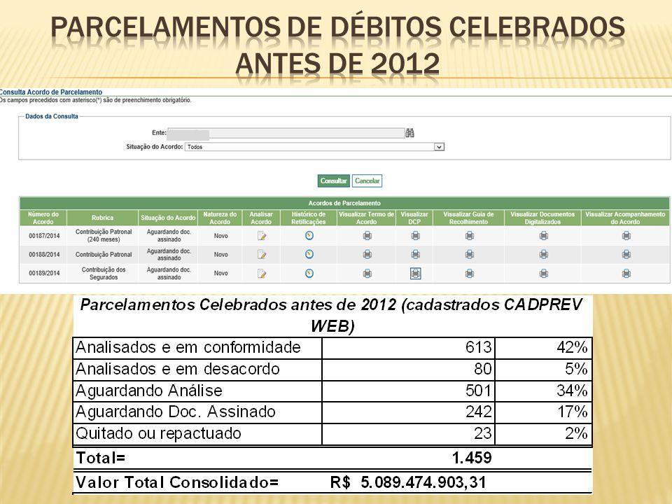 PARCELAMENTOS DE DÉBITOS CELEBRADOS ANTES DE 2012