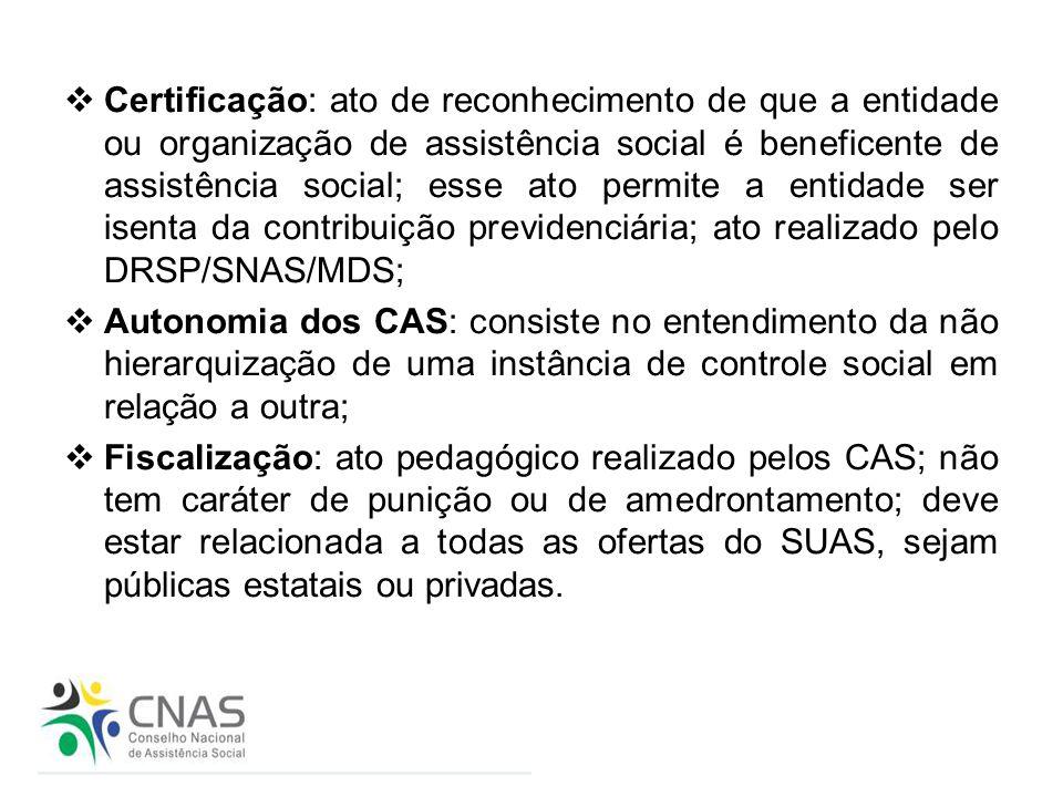 Certificação: ato de reconhecimento de que a entidade ou organização de assistência social é beneficente de assistência social; esse ato permite a entidade ser isenta da contribuição previdenciária; ato realizado pelo DRSP/SNAS/MDS;