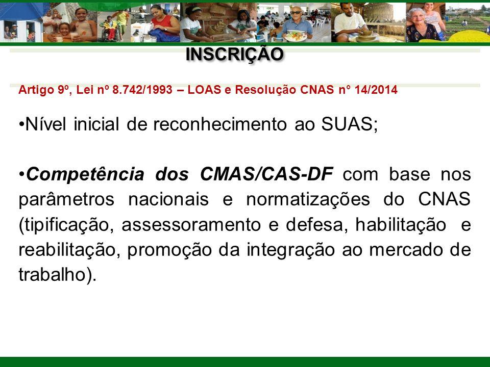 Nível inicial de reconhecimento ao SUAS;