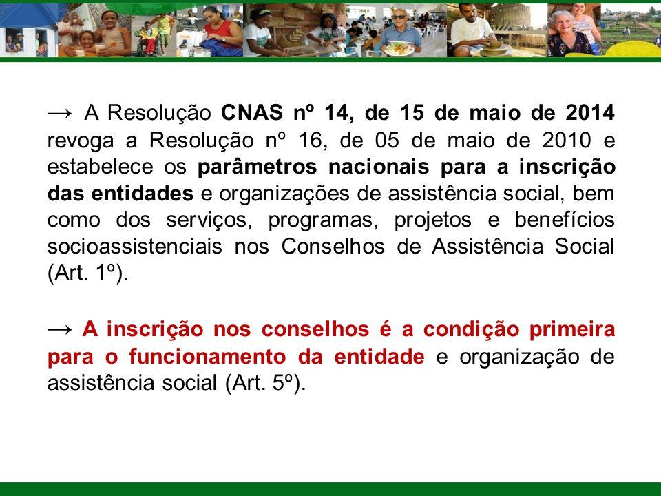 → A Resolução CNAS nº 14, de 15 de maio de 2014 revoga a Resolução nº 16, de 05 de maio de 2010 e estabelece os parâmetros nacionais para a inscrição das entidades e organizações de assistência social, bem como dos serviços, programas, projetos e benefícios socioassistenciais nos Conselhos de Assistência Social (Art. 1º).