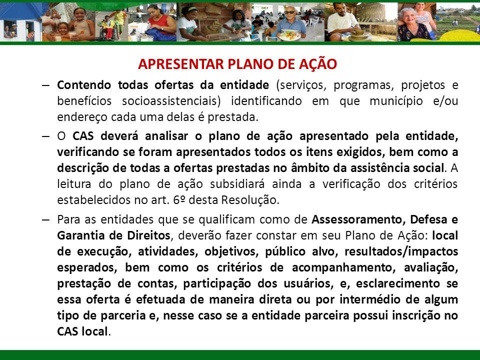 APRESENTAR PLANO DE AÇÃO