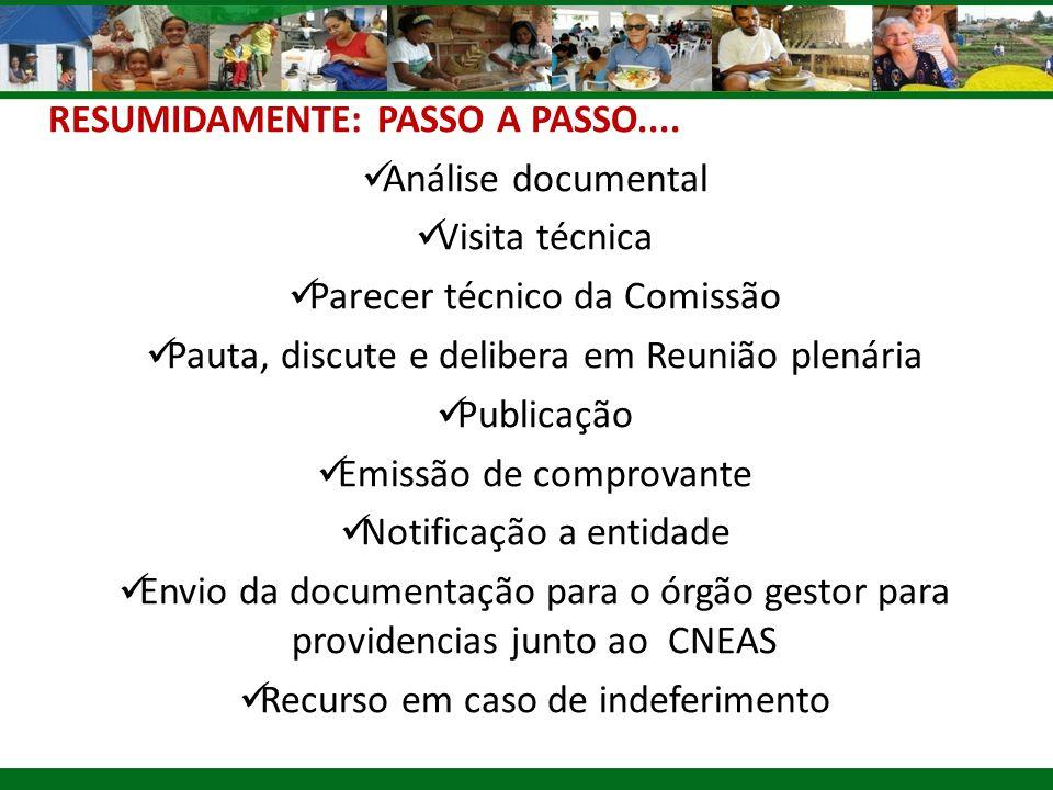 RESUMIDAMENTE: PASSO A PASSO.... Análise documental Visita técnica
