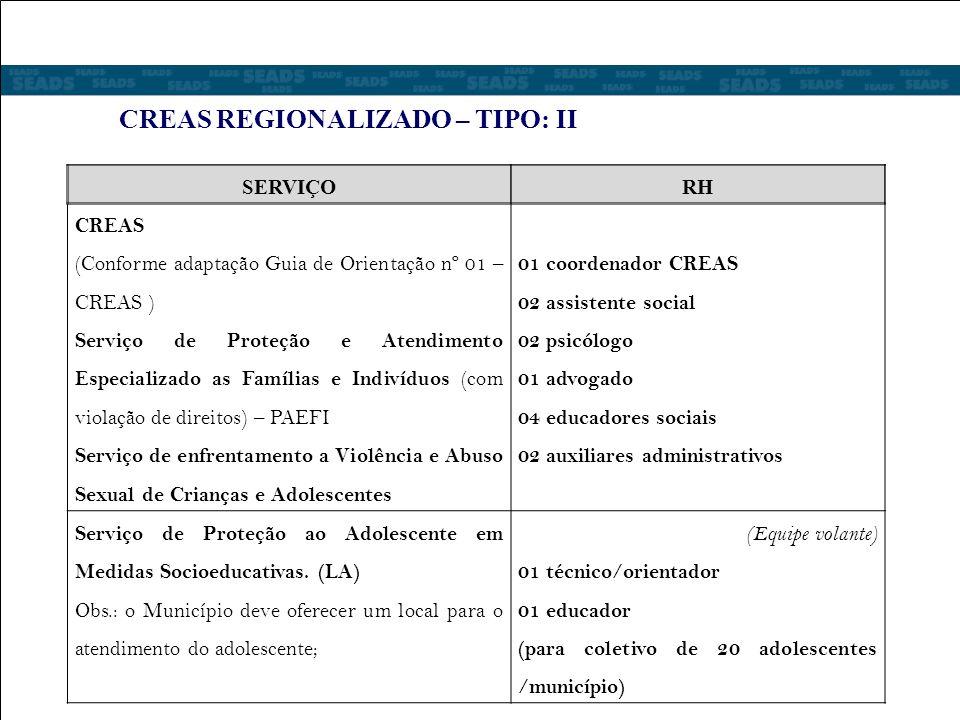CREAS REGIONALIZADO – TIPO: II