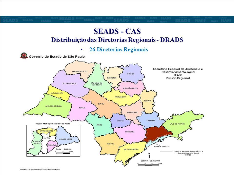SEADS - CAS Distribuição das Diretorias Regionais - DRADS