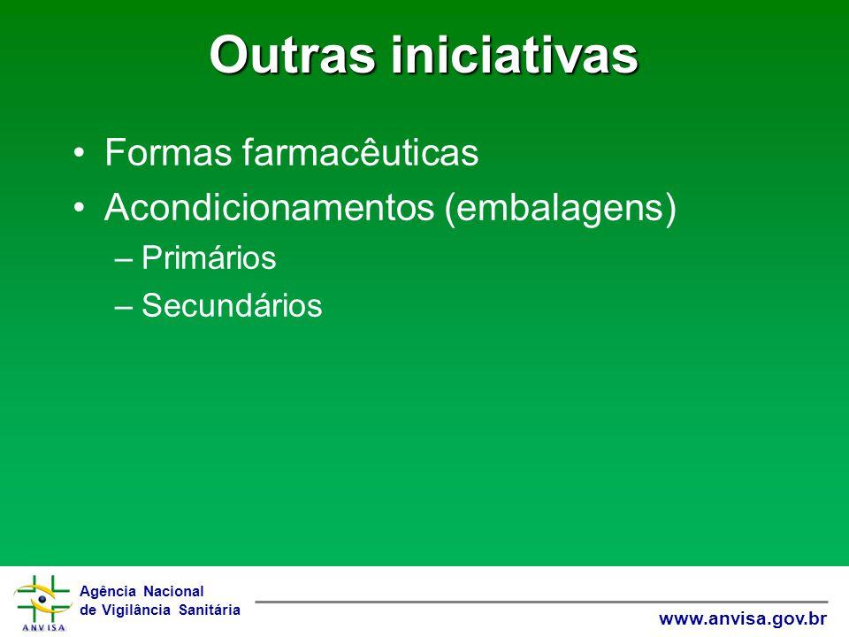Outras iniciativas Formas farmacêuticas Acondicionamentos (embalagens)