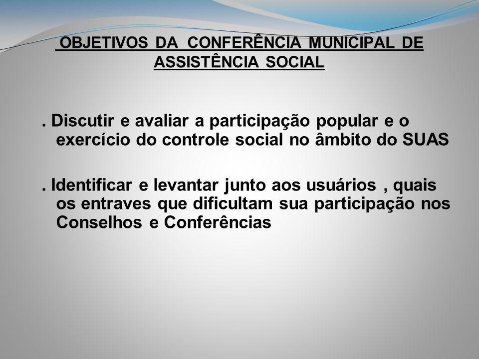 OBJETIVOS DA CONFERÊNCIA MUNICIPAL DE ASSISTÊNCIA SOCIAL