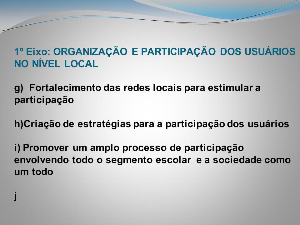 1º Eixo: ORGANIZAÇÃO E PARTICIPAÇÃO DOS USUÁRIOS NO NÍVEL LOCAL g) Fortalecimento das redes locais para estimular a participação h)Criação de estratégias para a participação dos usuários i) Promover um amplo processo de participação envolvendo todo o segmento escolar e a sociedade como um todo j