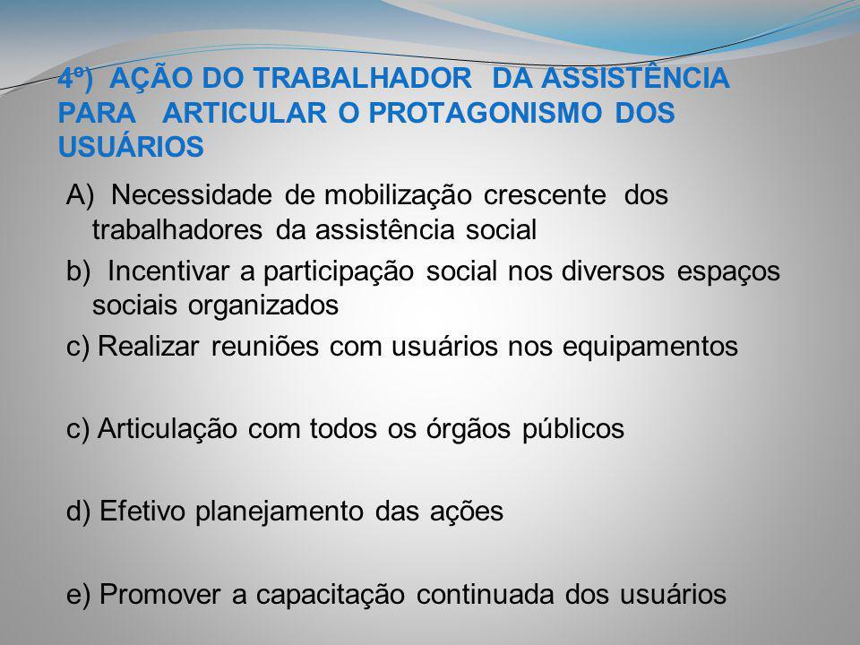 4º) AÇÃO DO TRABALHADOR DA ASSISTÊNCIA PARA ARTICULAR O PROTAGONISMO DOS USUÁRIOS