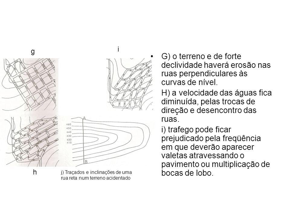 i g. G) o terreno e de forte declividade haverá erosão nas ruas perpendiculares às curvas de nível.