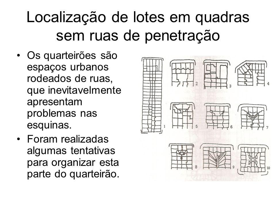 Localização de lotes em quadras sem ruas de penetração