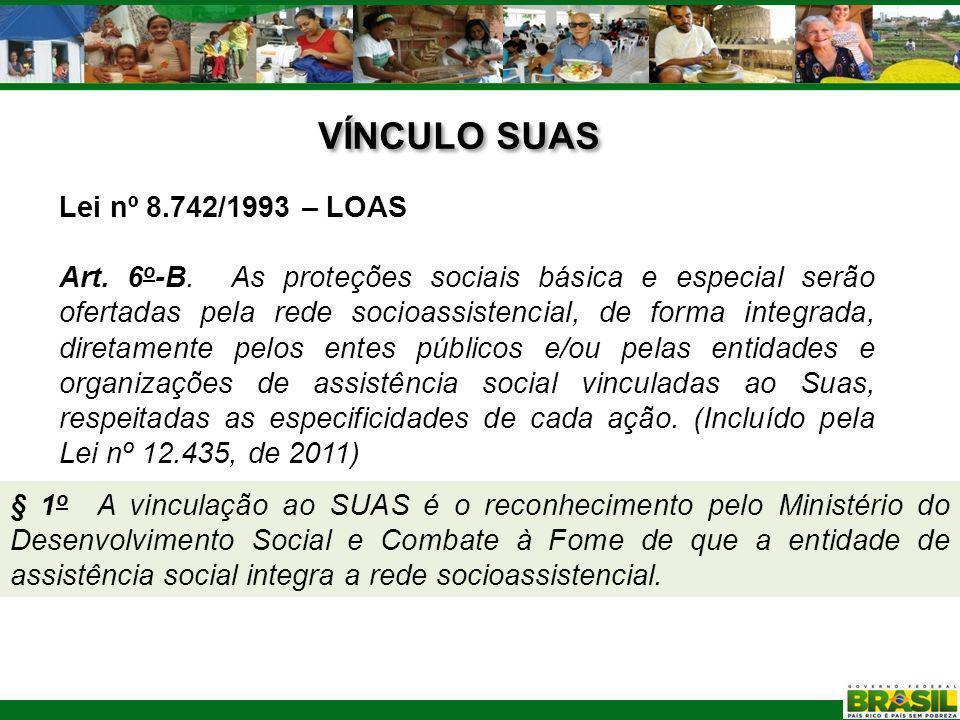 VÍNCULO SUAS Lei nº 8.742/1993 – LOAS