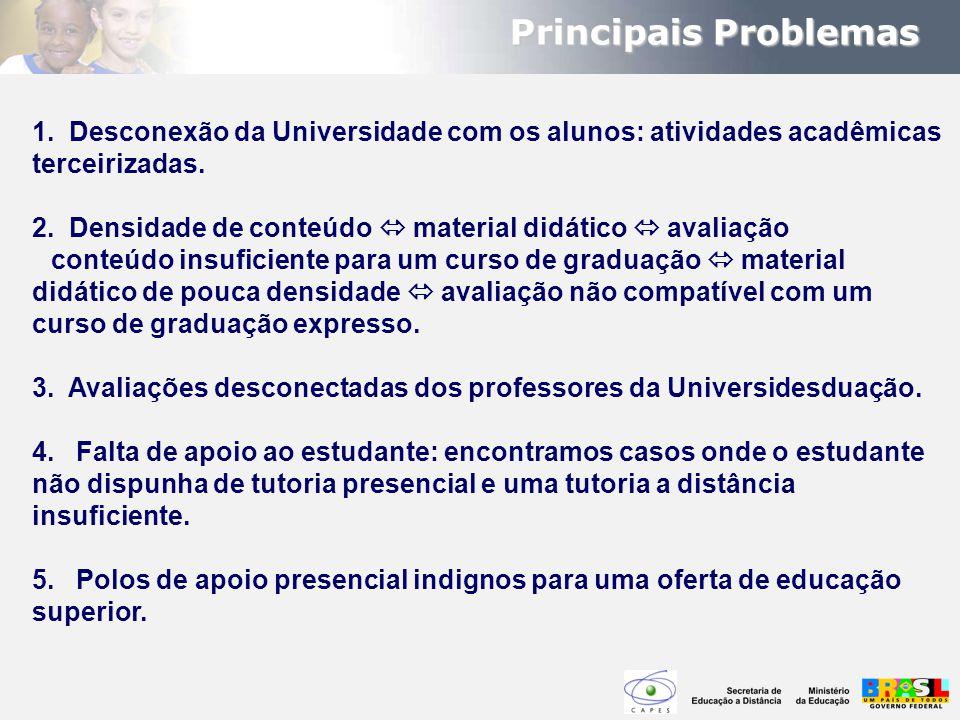 Principais Problemas 1. Desconexão da Universidade com os alunos: atividades acadêmicas terceirizadas.