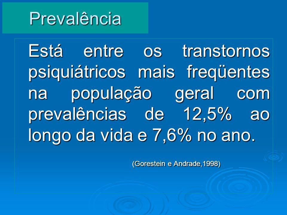 Prevalência Está entre os transtornos psiquiátricos mais freqüentes na população geral com prevalências de 12,5% ao longo da vida e 7,6% no ano.