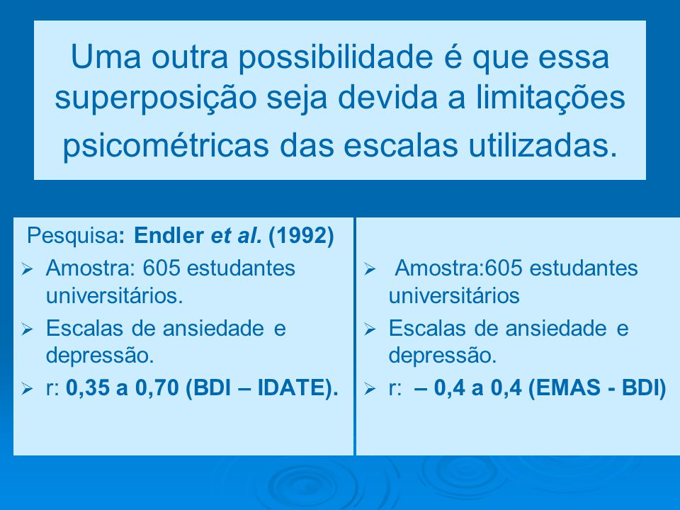 Uma outra possibilidade é que essa superposição seja devida a limitações psicométricas das escalas utilizadas.