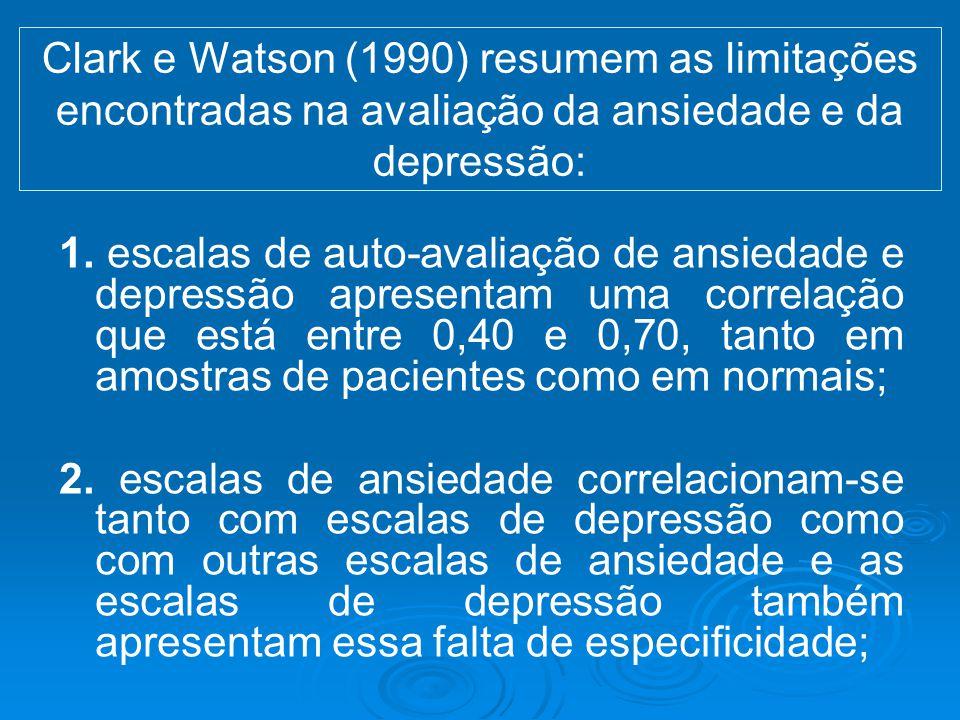 Clark e Watson (1990) resumem as limitações encontradas na avaliação da ansiedade e da depressão: