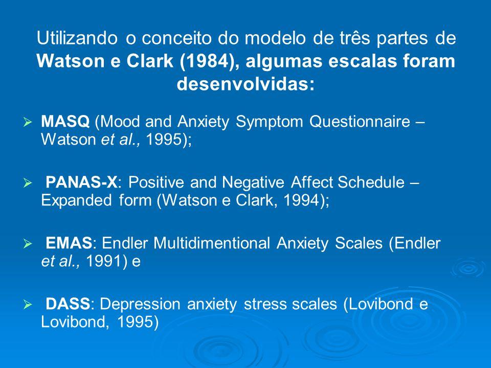 Utilizando o conceito do modelo de três partes de Watson e Clark (1984), algumas escalas foram desenvolvidas:
