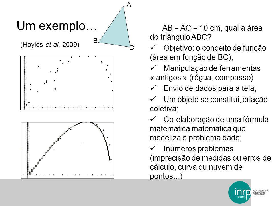 Um exemplo… AB = AC = 10 cm, qual a área do triângulo ABC