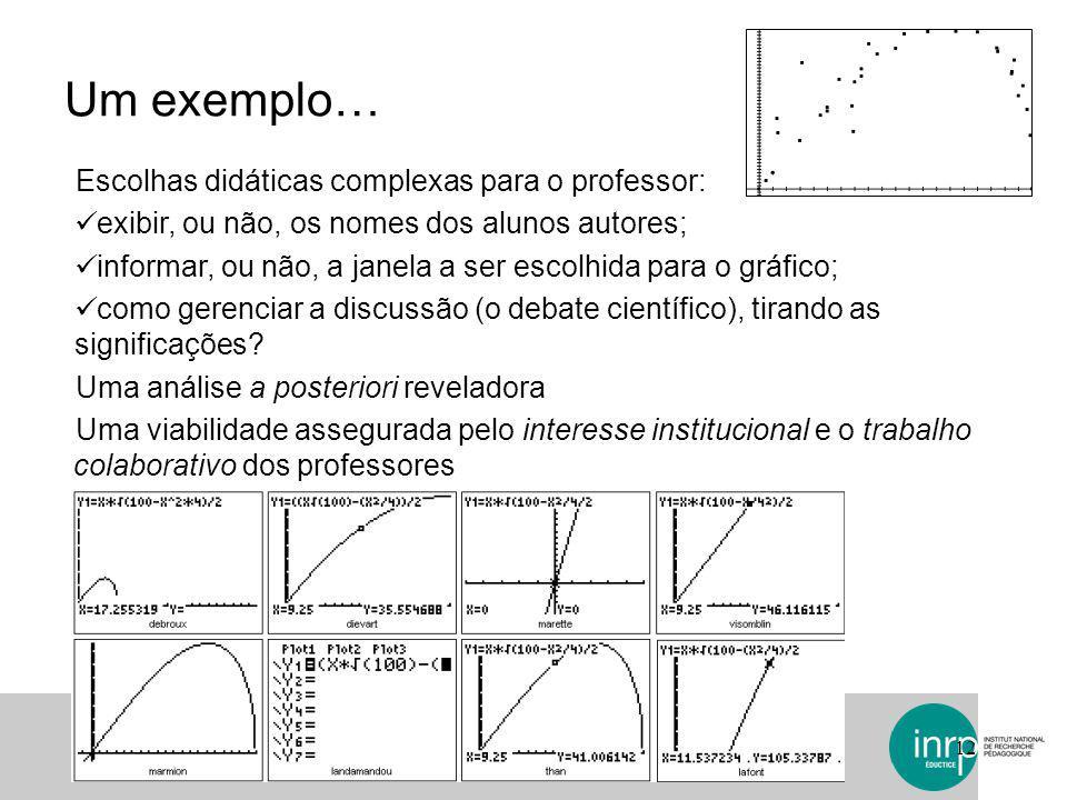 Um exemplo… Escolhas didáticas complexas para o professor:
