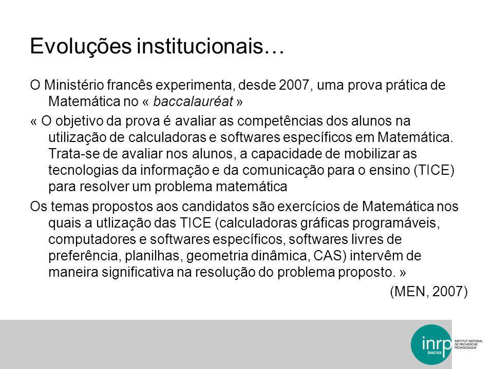 Evoluções institucionais…