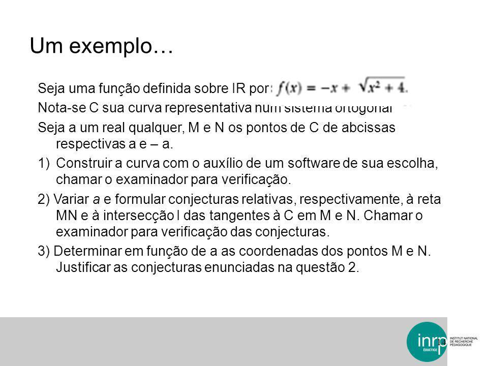 Um exemplo… Seja uma função definida sobre IR por