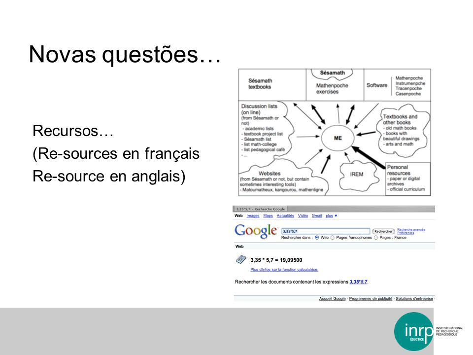 Novas questões… Recursos… (Re-sources en français