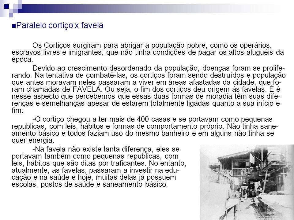 Paralelo cortiço x favela