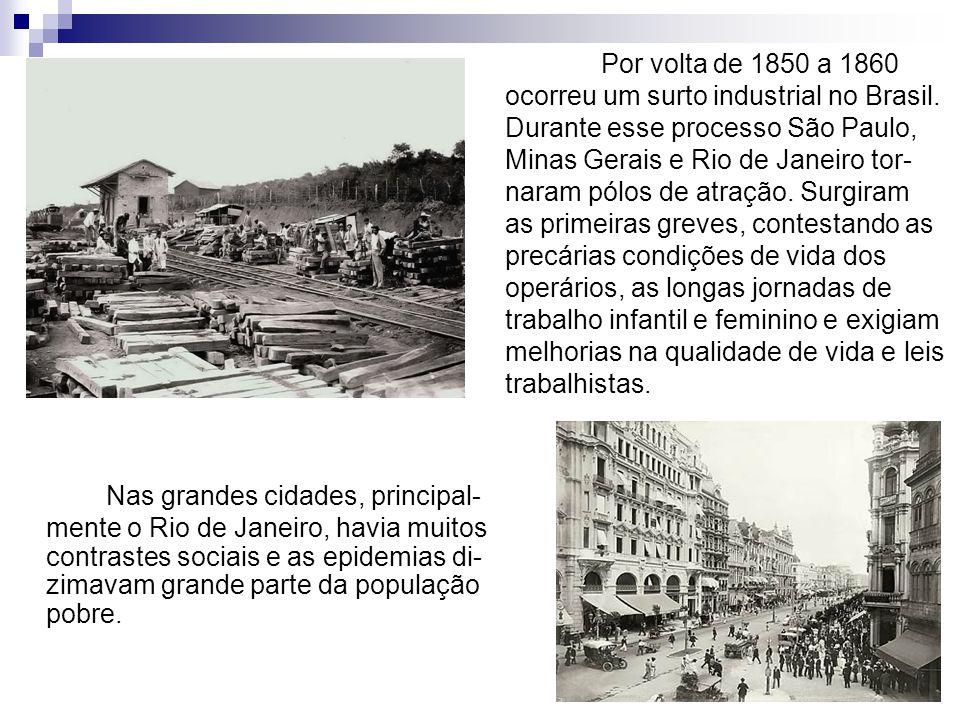 Por volta de 1850 a 1860 ocorreu um surto industrial no Brasil