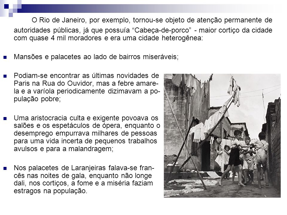 O Rio de Janeiro, por exemplo, tornou-se objeto de atenção permanente de autoridades públicas, já que possuía Cabeça-de-porco - maior cortiço da cidade com quase 4 mil moradores e era uma cidade heterogênea: